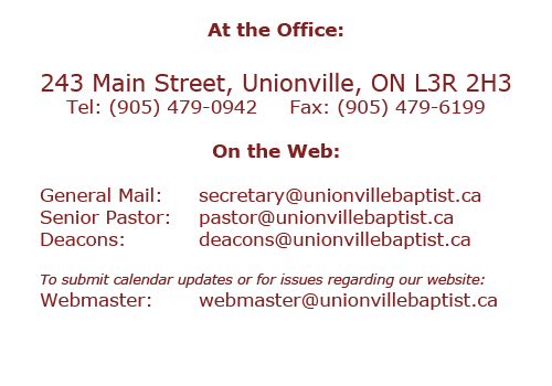 Unionville Baptist Church contact information